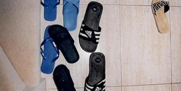 Shoes scattered at the door to the Lin house. - Picture: Supreme Court of NSW. Source:Supplied
