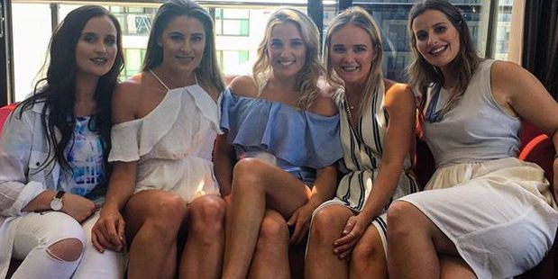 Gemma Flynn (centre) and her bridesmaids, from left Abigail Marshall, Lydia O'Donnell, Charlotte Harrison and Nicole Turner
