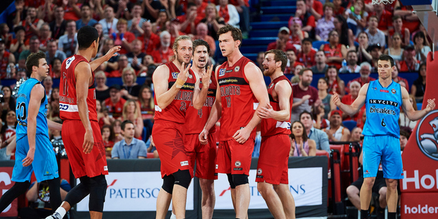 Angus Brandt of the Perth Wildcats celebrates a score NZ Breakers at Perth Arena. Photo/AP Photos