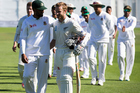 New Zealand's captain Kane Williamson leaves the field with Bangladesh skipper Tamim Iqbal. Photo / Photosport