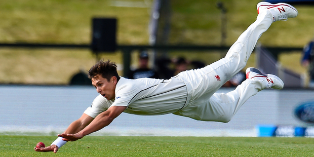 This was only really a half-chance for Trent Boult but it is too good a pic not to use. Photo / Photosport
