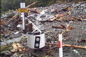 Flood damage at Warders Creek west of Arthur's Pass. Picture / NZTA