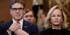 Rick Perry, who was accompanied by his wife Anita at his confirmation hearing this week, says he's been 'briefed on so many of the vital functions of the Department of Energy'. Photo / AP