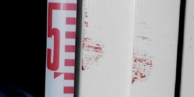 Blood on the doorway to the bedroom of Henry and Terry Lin. Picture: Supreme Court of NSW