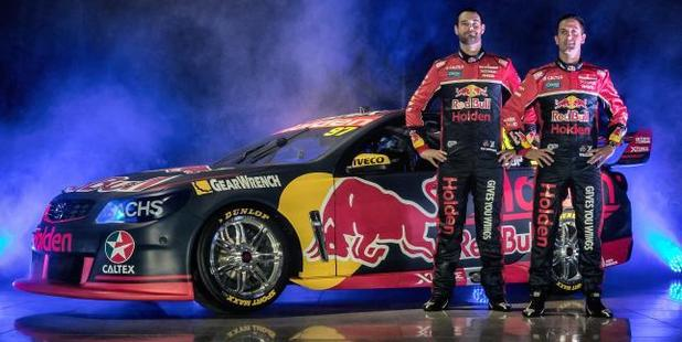 Shane van Gisbergen and Jamie Whincup show off the new livery. Photo / Red Bull Racing