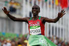 Kenyan Eliud Kipchoge crosses the finish line as winner during the men's marathon at the 2016 Rio Olympic Games. Photo/Photosport