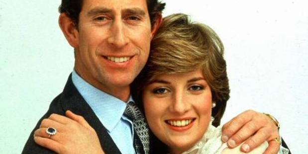 The engagement ring worn by the Princess of Wales, pictured here with  Prince Charles in October 1981. Photo / AP