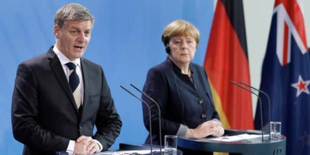 Angela Merkel has said Germany would apply pressure in Brussels to hasten an EU free trade with New Zealand. Photo / AP