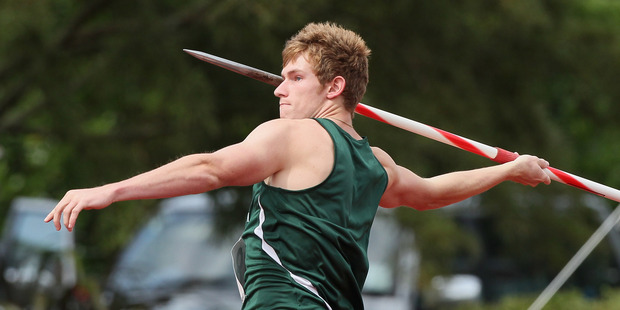 Ben Langton-Burnell throws the javelin during the New Zealand Track and Field Champs. Photo / Getty Images