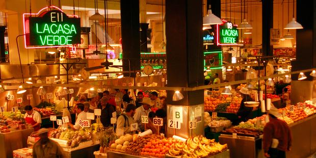 The Grand Central Market, where Mia and Sebastian enjoy a streetside nibble in La La Land. Photo / Getty Images