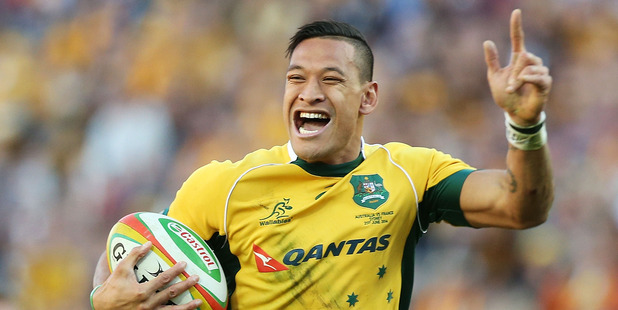 Israel Folau, playing for the Wallabies, has been linked to the Warriors. Photo / Getty Images