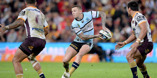 Todd Carney playing for Cronulla in 2014. Photo / Getty