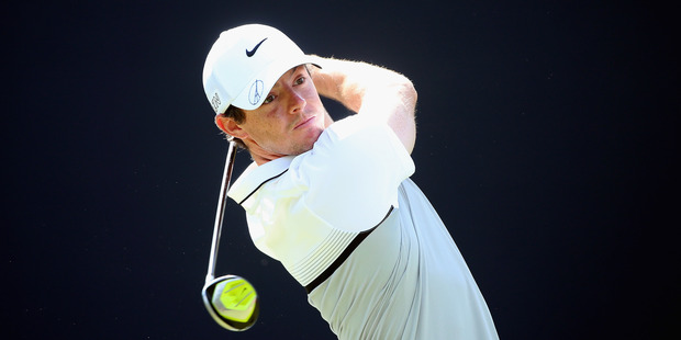 Rory McIlroy hits his tee-shot during the final round of the DP World Tour Championship. Photo / Getty Images