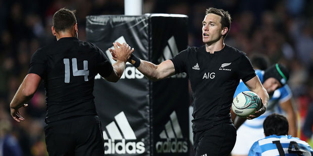 Ben Smith celebrates a try with Israel Dagg. Photo / Getty Images