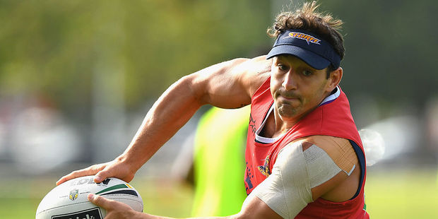 Billy Slater passes the ball during a Melbourne Storm NRL training session. Photo / Getty Images