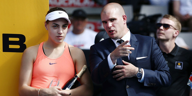 Tournament director Karl Budge chats to runner-up Ana Konjuh at the ASB Classic. Photo / Getty Images