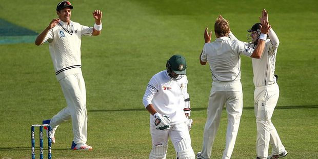 Loading Mahmudullah of Bangladesh leaves the field after being dismissed while Tim Southee, Neil Wagner and Tom Latham of New Zealand celebrate. Photo / Getty