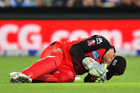 Peter Nevill of the Melbourne Renegades falls to the ground after being struck in the head by the bat of Brad Hodge. Photo / Getty Images
