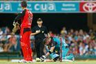 Brendon McCullum succumbs to heat in the 11th over. Photo / Getty Images
