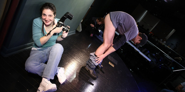 Photographer Janette Pellegrini photographs a potential puppeteer at the open auditions for Puppetry of the Penis: Res-Erection Tour. Photo / Getty