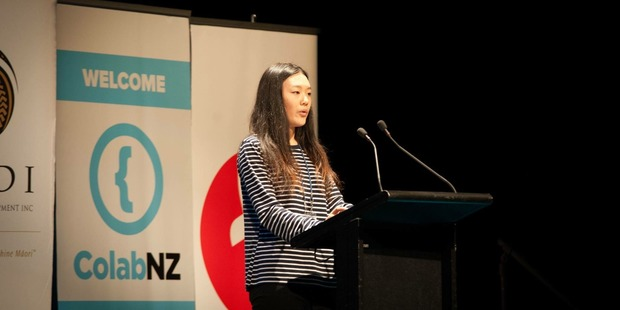 Rachel Ji speaking at New Zealand's Entrepreneur Festival.