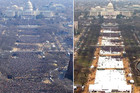 On the left is Obama's first inauguration. On the right is Trump's. Photo / Supplied