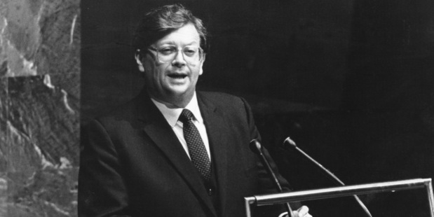 David Lange as Prime Minister addressing the General Assembly of the United Nations in New York, 25 September 1984. Photo / Supplied by UN