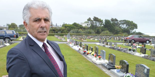Laurie Anisy at the Karoro Cemetery. Photo / Greymouth Star