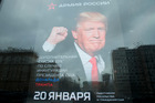 A Russian military outerwear shop in downtown Moscow displays a poster which reads