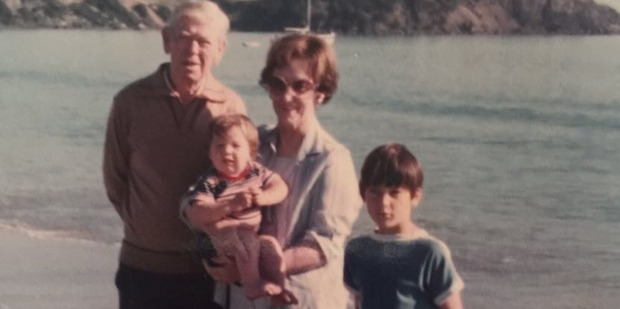 Dominic Bowden (far right) on a family camping trip in Matapouri.