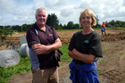 Logan Bowler and Kathy Craw held an open day as their new effluent pond was lined. Photo / Laurel Stowell
