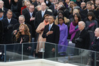 Beyonce performs the national anthem as US President Barack Obama looks on during his second inauguration in 2013. Photo / Getty Images