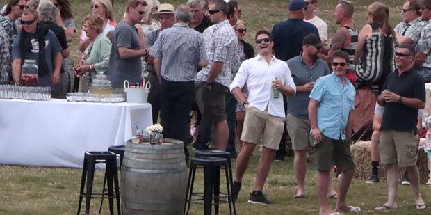 Richie McCaw enjoys a laugh at his after-wedding party at The Olive Grove in Wanaka today