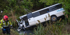Fifteen people were injured after the MoaTrek bus crashed down a bank and into a stream. Photo / John Chapman