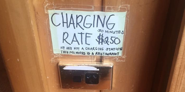 The Wobbly Kea Cafe & Bar in Arthur's Pass bills customers $2.50 per half hour to charge their phone. The cost to charge an iPhone6 is around $1.32 for a year.