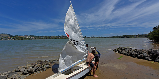 The rescued sailing dinghy gets ready for the return trip to Welcome Bay from Maungatapu's Rotary Park. Photo/George Novak