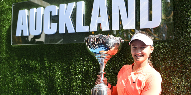 Lauren Davis with the trophy after winning the women's singles final of the ASB Classic this month. Photo / Andrew Cornaga / www.photosport.nz