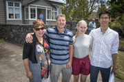 Parents Elaine and Martin Smith with their daughter Jemma and her boyfriend Jason Guan outside a Goode Rentals property in Epsom that was hotly contested by both students and young professionals. Photo / Greg Bowker