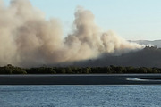 There is concern the blaze in the Coromandel could spread as strong winds pick up this morning . Photo / Thomas Everth