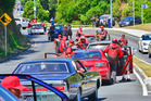 More than 100 vehicles carrying Mongrel Mob members were in a motorcade travelling from Kawerau to Whakatane. Photo / Whakatane Beacon