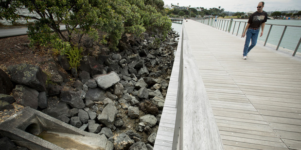 Look landward from the new boardwalk at St Mary's Bay and you can see why swimming is banned. Photo / Dean Purcell