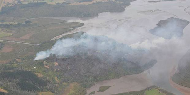 An aerial photo shows the scale of the fire. Photo / Courtesy of Mercury Bay Informer