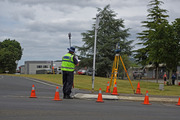 Police examining the scene of the gang shooting in Whakatane. Photo / George Novak.
