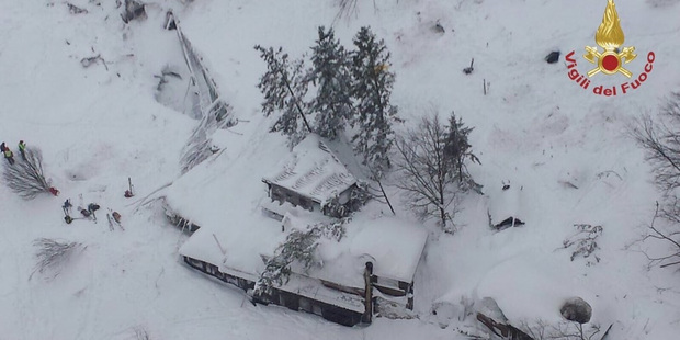 Loading Aerial view of the Hotel Rigopiano in the town of Farindola on the Gran Sasso mountain in the central Abruzzo region of Italy which was buried by an avalanche. Photo / Twitter / @emergenzavvf