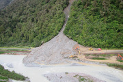 A slip at Jacksons on the West Coast of the South Island on State Highway 73 today. Photo /Greymouth Star