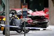 The smashed Holden Commodore. Photo / News Limited