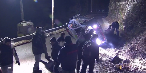 Loading Still from video of the Hayden Paddon crash during the WRC Monte Carlo rally 19 January 2017. Photo / Youtube.