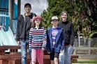 BACK TO SCHOOL: (L_R) Cheyne Hosking, Elaina Hosking, 10, Andrew Hosking, 12, and Catherine Hosking. PHOTO/ANDREW WARNER
