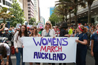 Jacinda Ardern , Lizzie Marvelly and Alison Mau at the head of the Women against Trump demonstration Queen Street Auckland. Photo / Doug Sherring