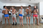 Anton Lienert-Brown , TJ Perenara , Scott Curry , Ardie Savea , DJ Forbes pose in Jockey underwear. Photo / Alicja Grocz